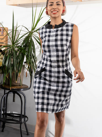 vintage 1960's mod plaid zip front dress