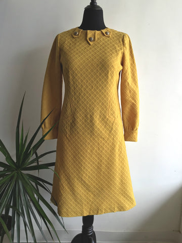 vintage 1960's mustard yellow wiggle dress