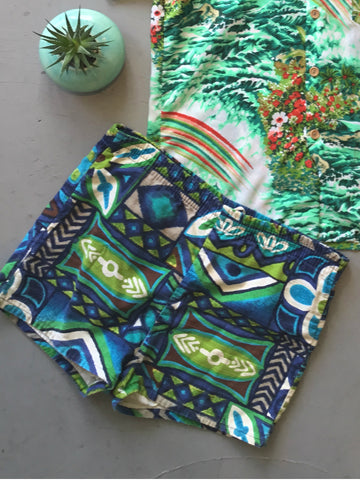 vintage 60s tiki print swim trunks