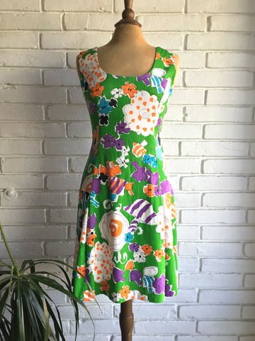 vintage 60s mod drop waist floral dress