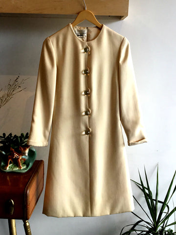 M - Vintage 1960's Cream Neiman Marcus Dress