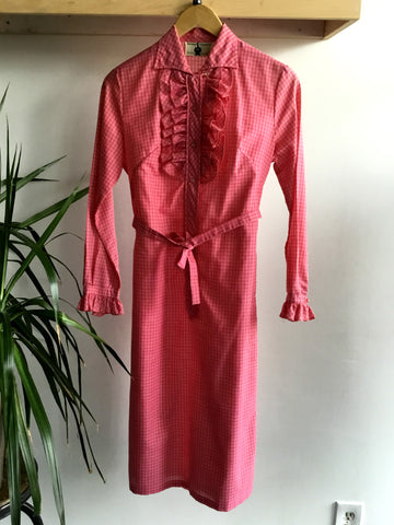 M - Vintage 1970's Pink Gingham Ruffled Shift Dress