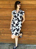 XL - Vintage 1960's Black and White Floral Dress