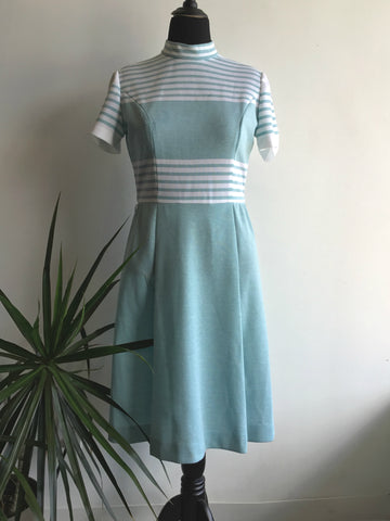 vintage 1960's teal and white dress