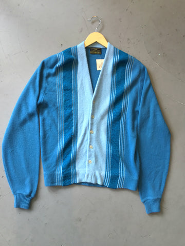 vintage 60s blue striped grandpa sweater