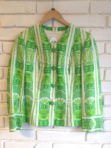 M - 1960's Frances Tharp Lime Green Tiki Print Jacket