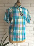 vintage 80s plaid western shirt, fron view