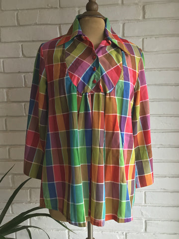 vintage 70s multi color plaid bib front blouse