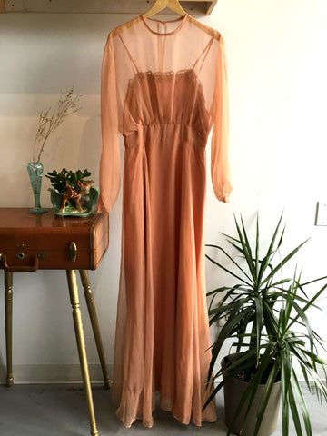 M - Vintage 1970's Mauve Maxi Dress with Sheer Overlay