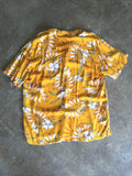 vintage 80s mustard yellow floral hawaiian shirt, rear view
