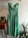 S - Vintage 1980's Mint Green Strapless Silk Party Dress