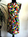 1980's abstract geometric body con dress