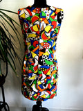 1980's abstract geometric body con dress, rear view