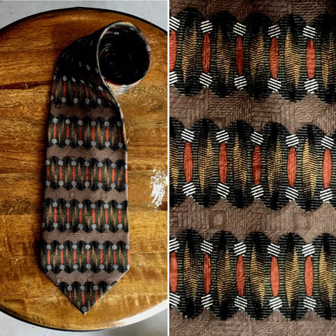 Vintage 1980's 100% Silk Brown Tie with Olive Accents