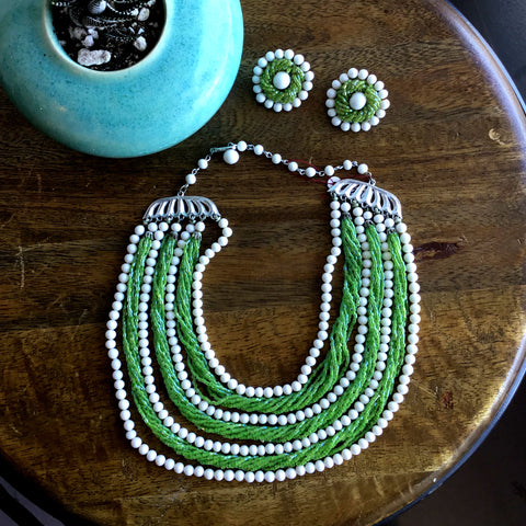 Vintage 1950's Matching Green and White Beaded Necklace and Clip on Earrings