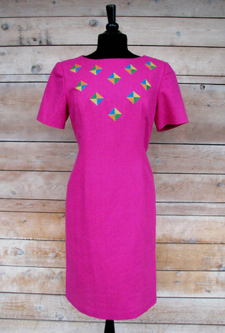 M - Vintage 1980's Hot Pink Silk Shift Dress
