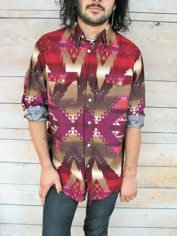 M - Vintage 1980's Geometric Print Long Sleeved Western Button Down