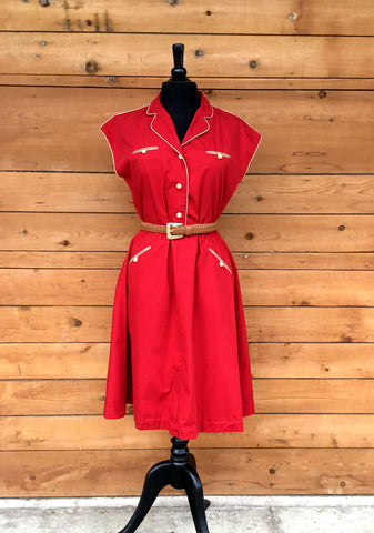 L - Vintage 1970's Red Dress with Beige Piping