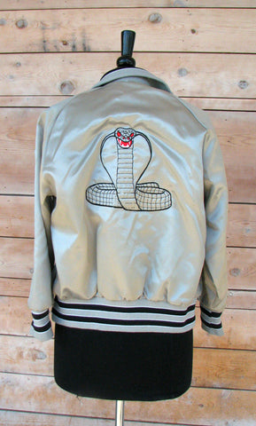 Vintage Silver Satin Jacket...With a Snake!