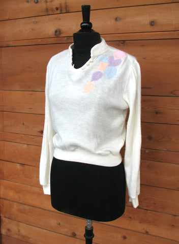 S - Vintage 1970's Cream Sweater with Pastel Floral Appliques