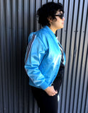 L/XL - Vintage Baby Blue Satin Track Jacket