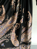 M - Vintage 1960's Black Maxi Dress w/Paisley Print