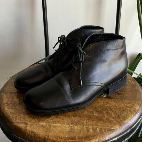 7 - Vintage 1990's Black Leather Ankle Boots