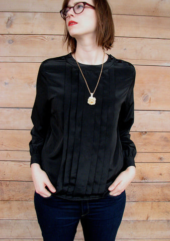 L - Vintage 1980's Black Pleated Silky Blouse
