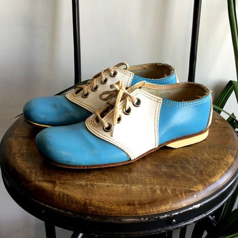 cute vintage blue and white saddle shoes