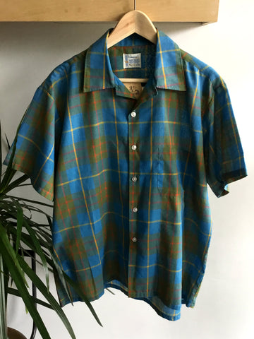 L - Vintage 1950's Blue Plaid Towncraft Short Sleeve Shirt