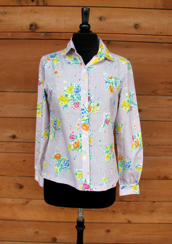 S - Vintage 1970's Lady Arrow Multi Color Blouse