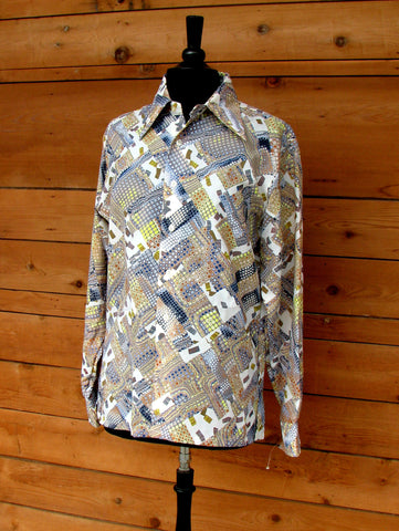 M - Vintage 1970's Brown and Blue Psychedelic Print Button Down
