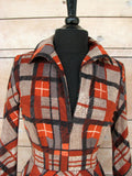 S - Vintage 1970's Victor Costa Brown and Gray Plaid Dress