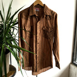 M - Vintage 1980's Brown and Tan Long Sleeve Pearl Snap