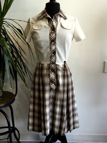 vintage 1960's cream and brown plaid school girl style dress