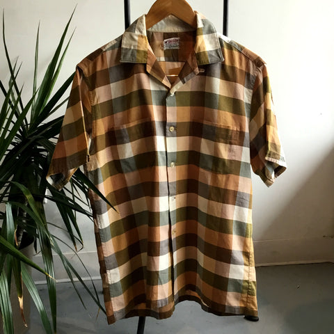 M - Vintage 1950's McGregor Brown Plaid Short Sleeve Button Down