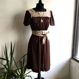 M - Vintage 1970's Brown Polka Dot Dress