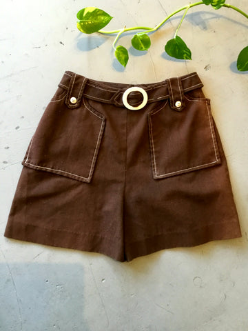 vintage 1970's brown high waist shorts
