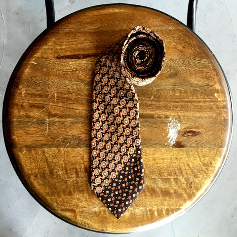 Vintage 1980's Brown Two-Toned Floral Tie