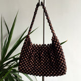 Vintage 1970's  Brown Wooden Beaded Purse
