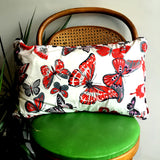 Upcycled Vintage Fabric Throw Pillow - Butterfly Print