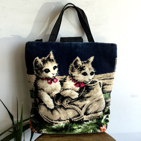 Vintage Carpet Bag...with Cats!