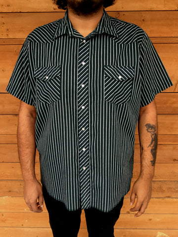 XXL - Vintage Forest Green and White Pinstripe Western Shirt