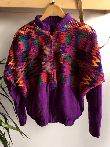 vintage 1980's hand embroidered Guatemalan bomber jacket