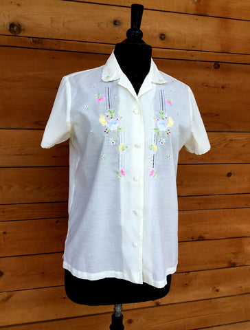 L - Vintage 1960's Embroidered Blouse