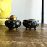 Vintage / Antique Matching Floral Salt Bowl and Pepper Shaker