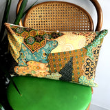 Upcycled Vintage Fabric Throw Pillow - Geometric Print