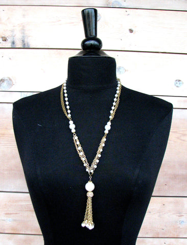 Vintage Faux Pearl Finish Tassel Necklace