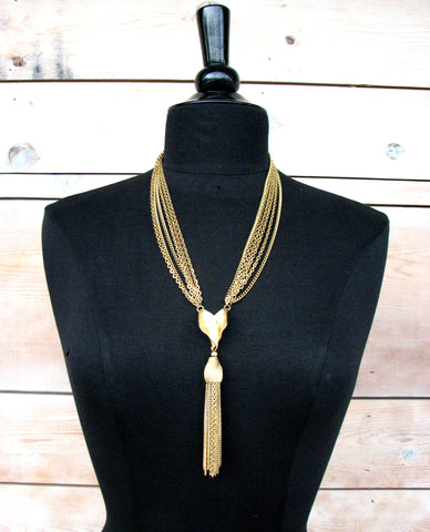 Vintage Gold Chain Necklace with Pendant