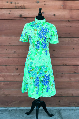 M - Vintage 1960's Green and Blue Floral Dress